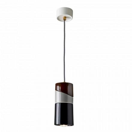 Lámpara de suspensión en latón y cerámica de colores modernos hecha en Italia Asia.
