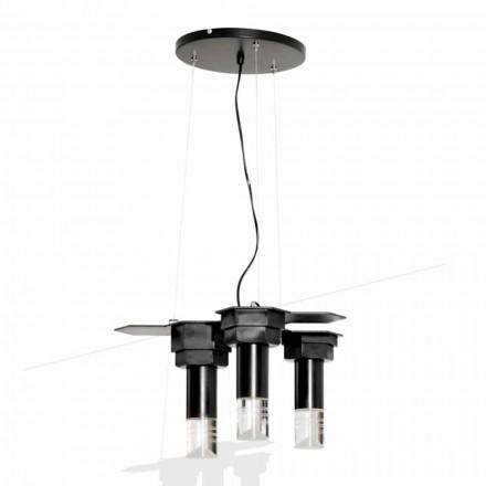 Lámpara colgante moderna en metal negro mate y plexiglás Made in Italy - Dalbo