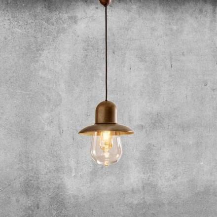 Lámpara suspendida vintage con reflector de latón - Guinguette Aldo Bernardi