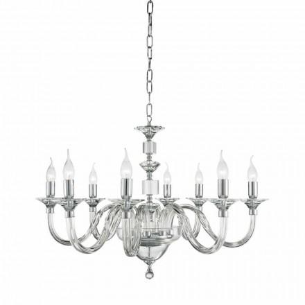 Araña 8 luces diseño de cristal con decoraciones de cristal de la hiedra