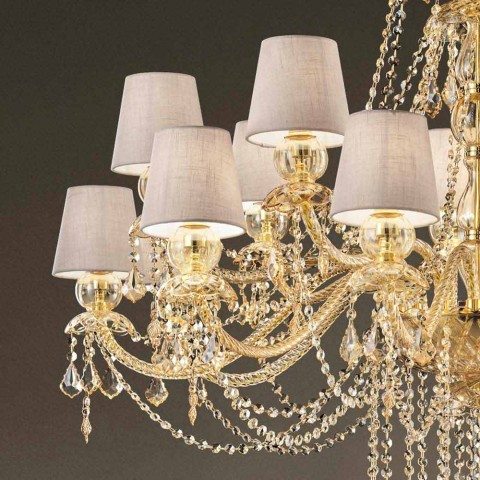 Araña de 16 luces hecha a mano en vidrio de Venecia, Made in Italy - Milagros