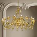 Araña de luces de oro y vidrio veneciano de 16 luces, hecha a mano en Italia - Regina