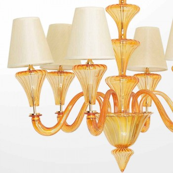Lámpara de cristal de Murano con 6 luces de color ámbar Made in Italy - Rolando