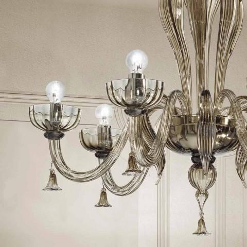 Araña de luces venecianas de 6 luces, hecha a mano en Italia - Regina