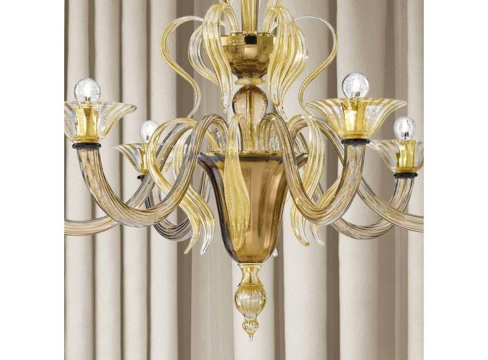 Araña de cristal veneciana de 6 luces Artisan Made in Italy - Agustina