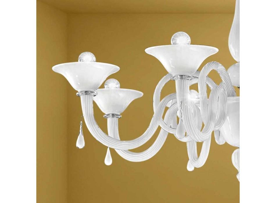 Araña artesanal de 8 luces en cristal de Venecia, Made in Italy - Margherita