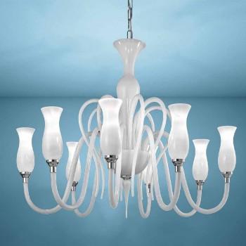 Araña de cristal veneciano Artisan 8 luces, Made in Italy - Vittoria