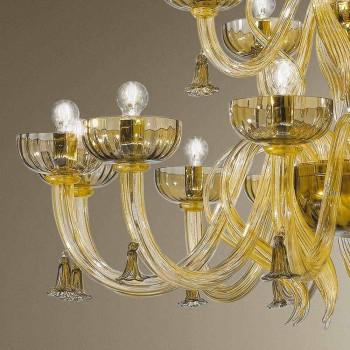 Araña de luces de 18 luces hecha a mano en vidrio de Venecia, Made in Italy - Regina
