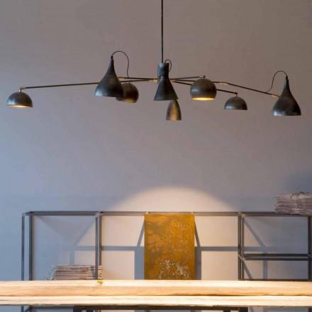 Lámpara de araña de hierro hecha a mano con pantallas de aluminio Made in Italy - Verino