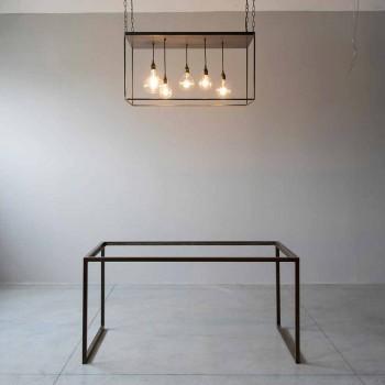 Araña de luces hecha a mano de hierro negro con cadena bruñida Made in Italy - Cosma