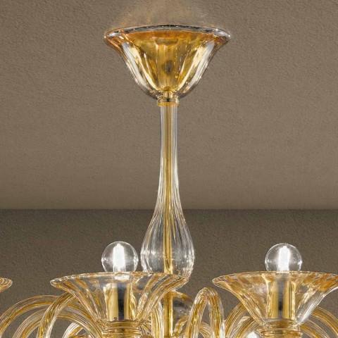Araña de 12 luces hecha a mano de vidrio veneciano Made in Italy - Margherita