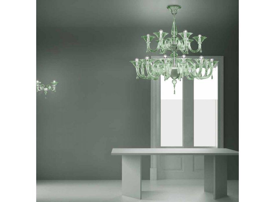 Araña de cristal veneciano de 18 luces hecha a mano en Italia - Margherita