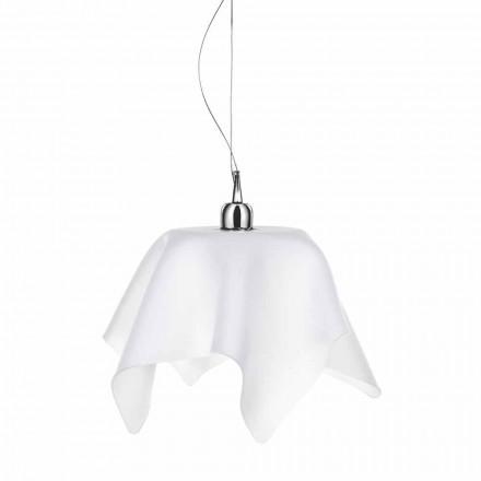 Araña de diseño en blanco satinado con cortinas Dafne fabricada en Italia