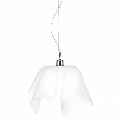 Araña de diseño blanca satinada con cortinas Dafne fabricada en Italia