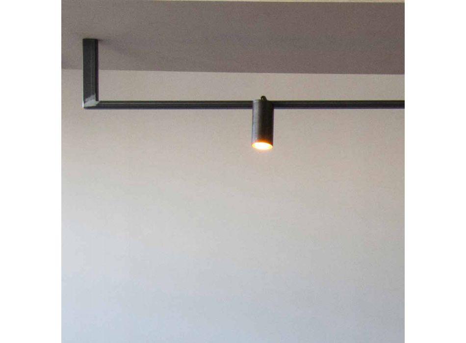 Araña de diseño moderno hecha a mano en hierro negro Made in Italy - Pamplona