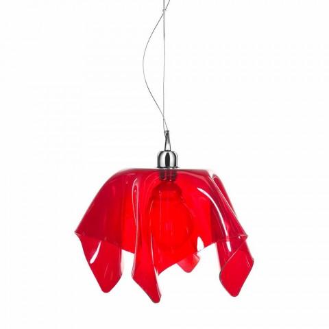 Araña de diseño transparente rojo con cortinas Dafne made in Italy