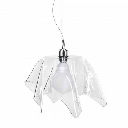 Araña de diseño transparente con Daphne drapeada hecha en Italia