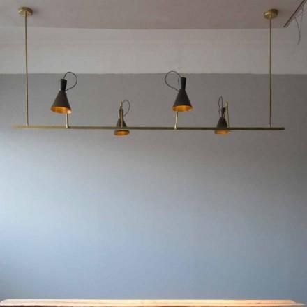 Lámpara de araña hecha a mano en latón natural y aluminio Made in Italy - Selina