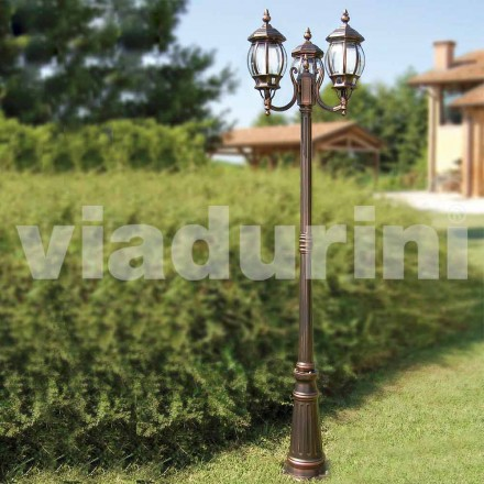 Farola para exteriores de tres luces, hecha de aluminio, hecha en Italia, Anika