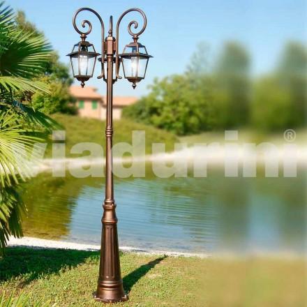 Farola de tres luces para jardín fabricada en aluminio, hecha en Italia, Kristel