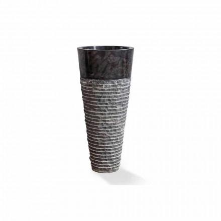 Lavabo Columna de Diseño Moderno en Mármol Negro Brillo - Merlo