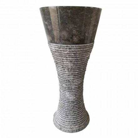 Lavabo de pedestal en piedra natural gris oscuro Fara, pieza única.