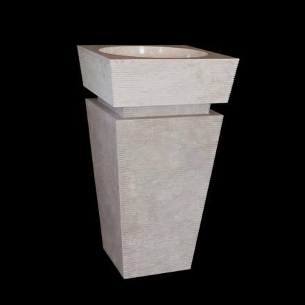 Lavabo de columna de piedra natural blanca hecho a mano Sire