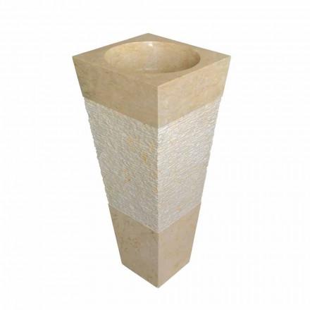 Lavabo de columna piramidal de piedra natural beige, Nias