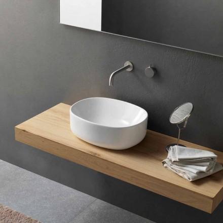 Lavabo sobre encimera ovalado de diseño moderno en cerámica blanca - Ventori2