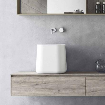 Lavabo sobre encimera alto cuadrado de diseño moderno en resina blanca - Tulyp