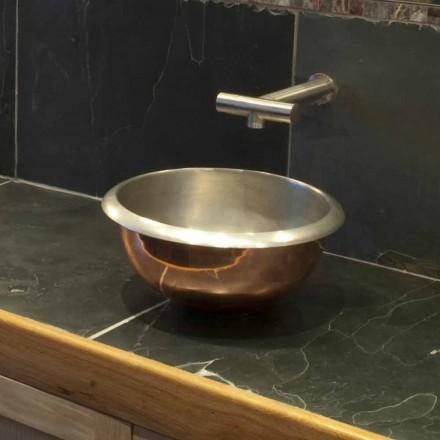 Lavabo sobre encimera realizado en cobre y hierro blanco Pure