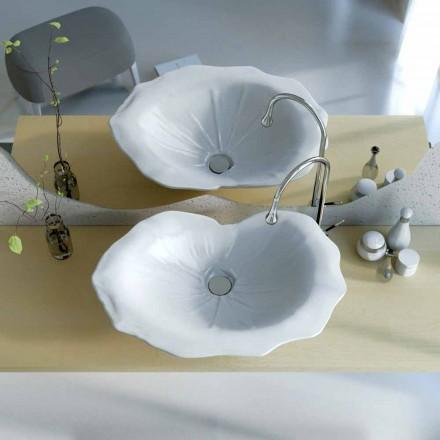Lavabo de diseño moderno en forma de hoja de faruglio.