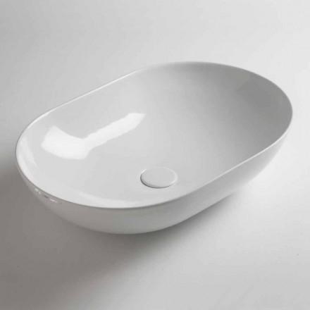 Lavabo sobre encimera ovalado de cerámica coloreada Made in Italy - Cadena