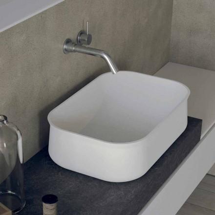 Lavabo de baño blanco rectangular con encimera de diseño moderno - Tulyp2