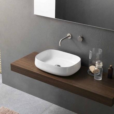 Lavabo sobre encimera de cerámica blanco de diseño moderno Made in Italy - Tune2