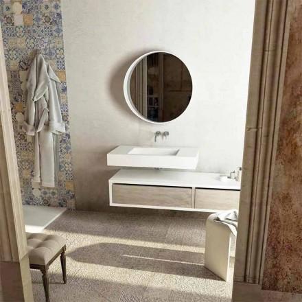 Top con lavabo central integrado para baño Gemona, hecho en Italia