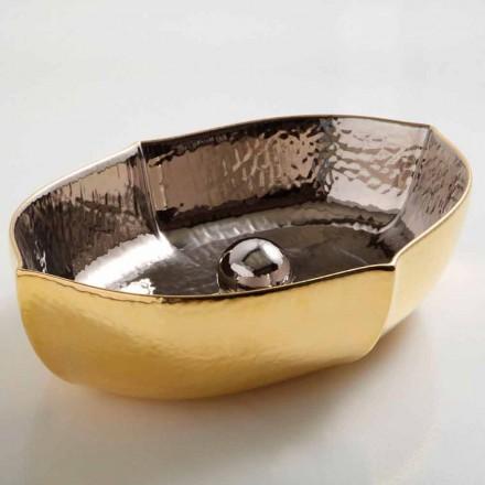 Lavabo sobre encimera de sobre encimera de cerámica y oro realizado en Italia Diseño de Oscar