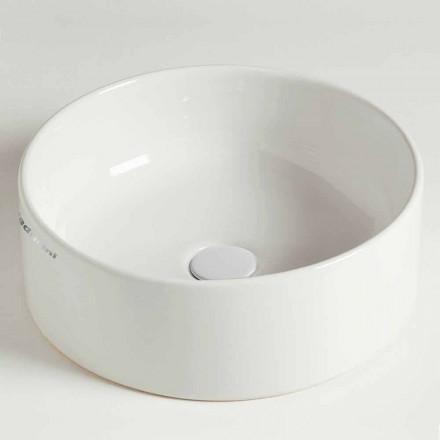 Lavabo sobre encimera circular moderno de cerámica Made in Italy - Rotolino