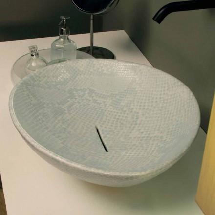 Lavabo sobre encimera de diseño de piel de serpiente blanco hecho Italia Animals