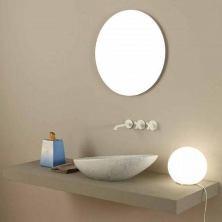 Lavabo blanco de cerámica con diseño de pitón fabricado en Italia Brillante