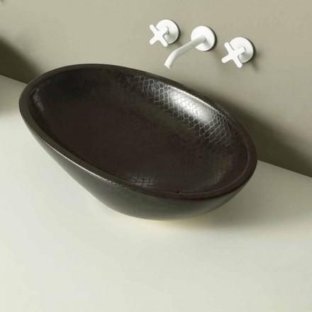 Lavabo sobre encimera de cerámica, negro, python, hecho en Italia Brillante