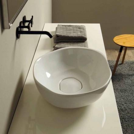 Lavabo sobre encimera de cerámica de diseño realizado en Italia Stem