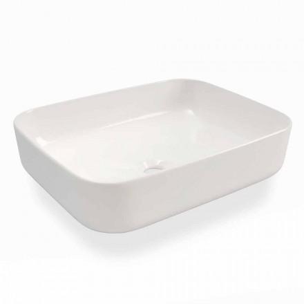 Lavabo sobre encimera de diseño moderno en cerámica blanca Made in Italy - Turku