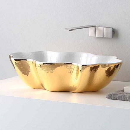 Lavabo de cerámica de diseño moderno hecho en cubo de Italia.