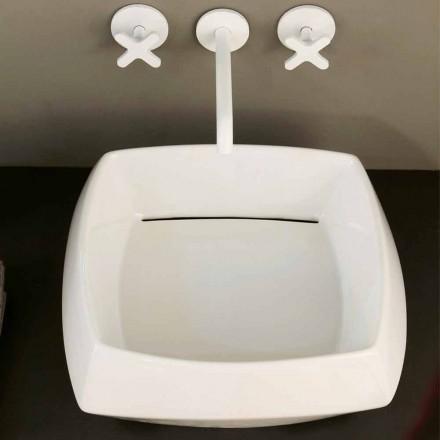 Lavabo sobre encimera de cerámica blanca realizado en Italia Simon