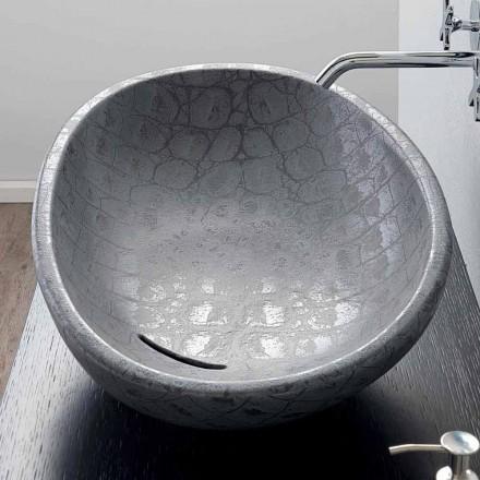 Lavabo sobre encimera de cerámica de coco gris estampado hecho en Italia Glossy