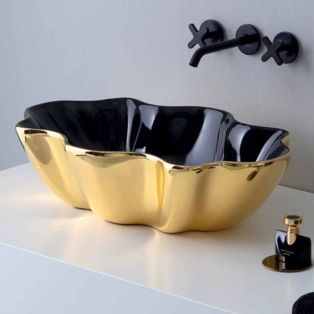Lavabo sobre encimera moderno en cerámica dorada y negra hecho en Italia Cube