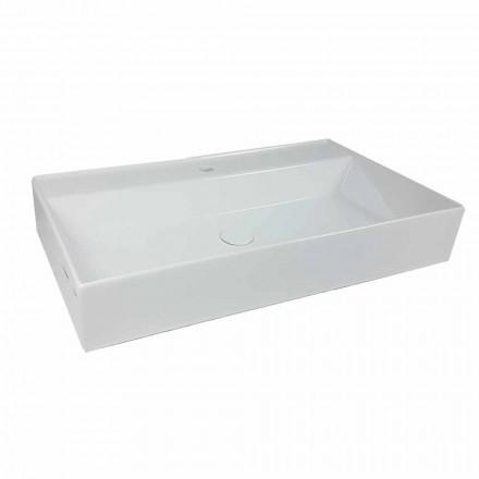 Lavabo sobre encimera rectangular L 80 cm en cerámica Made in Italy - Piacione