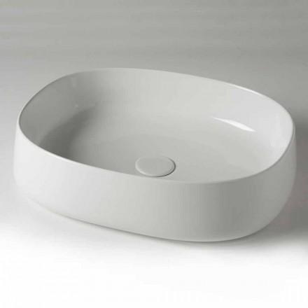 Lavabo sobre encimera ovalado L 50 cm en cerámica Made in Italy - Cordino