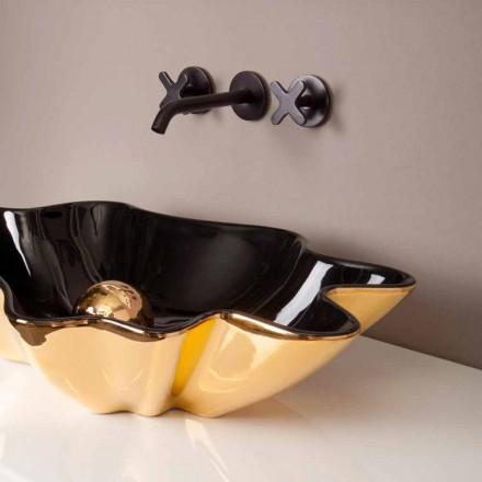 Lavabo de diseño de cerámica negro y dorado fabricado en Italia Rayan